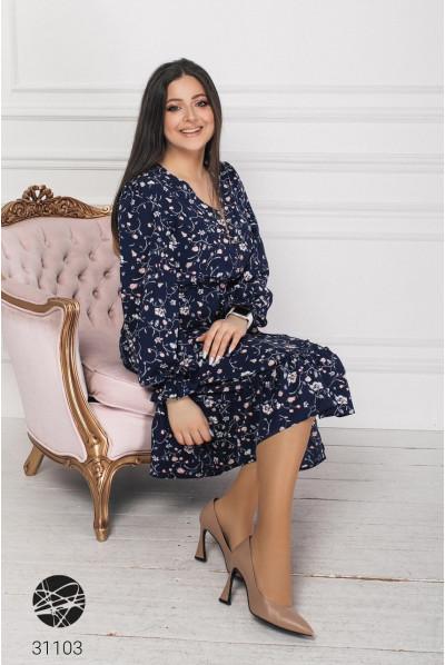 Синє оригінальне весняне плаття міді великих розмірів