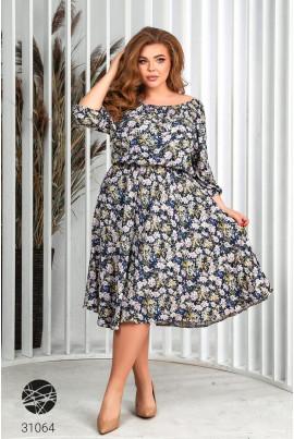 Синє оригінальне плаття міді великих розмірів