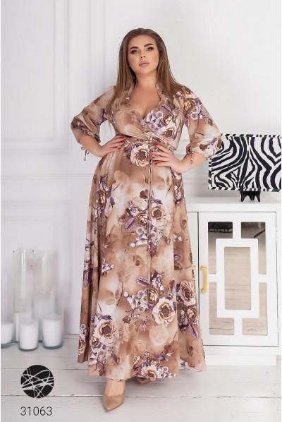 Бежева розкішна сукня максі з великим квітковим принтом