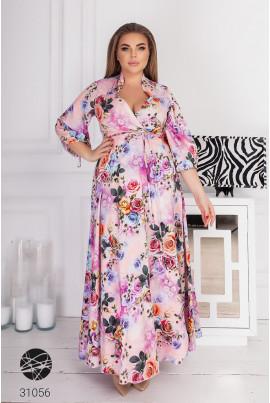 Рожева довга святкова сукня для жінок з пишними формами