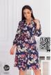 Синє барвисте актуальне плаття міді з яскравим квітковим принтом