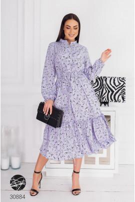 Бузкове заворожуюче квіткове плаття з воланом