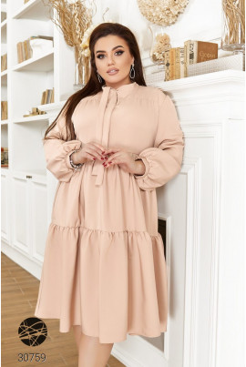 Бежева ніжна мила сукня великих розмірів
