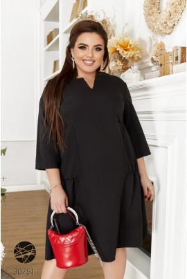 Чорна повсякденна сукня міді з ярусним дизайном