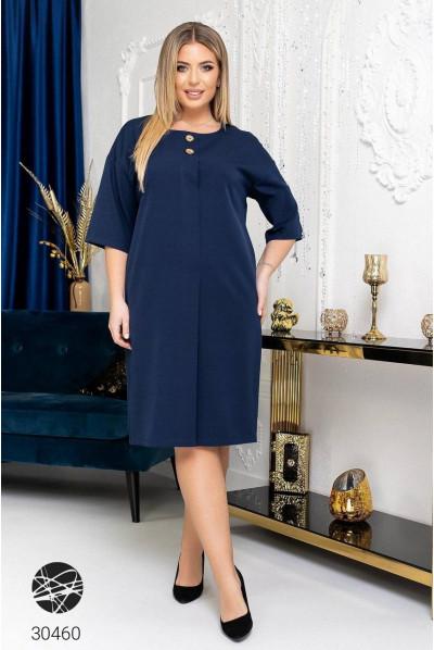 Синя інтригуюча модна сукня з кишенями
