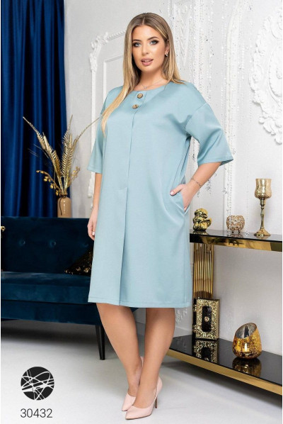 Ментолове елегантне жіночне плаття міді з декоративними гудзиками