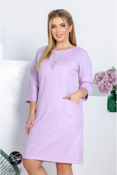 Бузкове мінімалістичне плаття з еко-замші з прикрасою