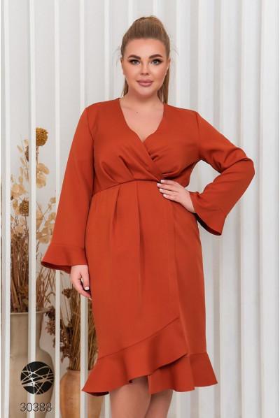 Помаранчеве яскраве повсякденне плаття для повних жінок