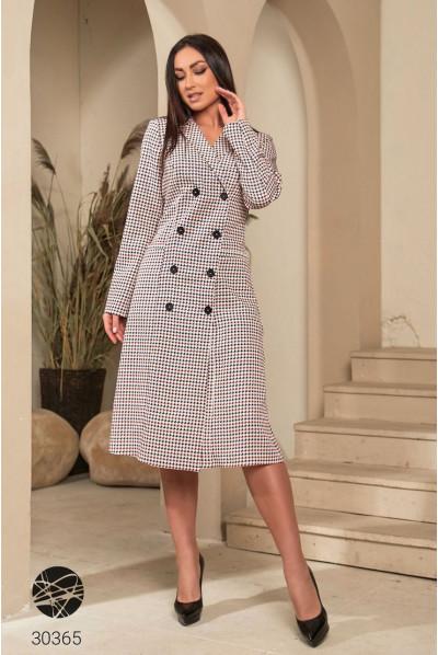 Бордова оригінальна сукня-блейзер з принтом гусяча лапка