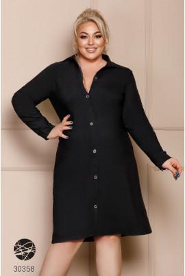Чорне повсекденне джинсове плаття для жінок з пишними формами