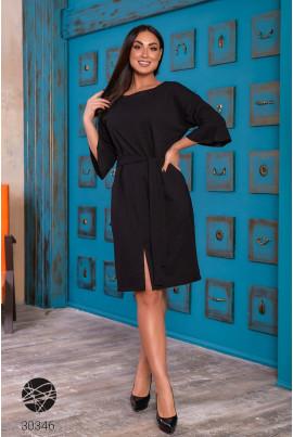 Чорна повсякденна сукня з розрізом для повних жінок