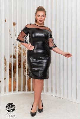 Чорна шкіряна ошатна сукня футляр для повних жінок