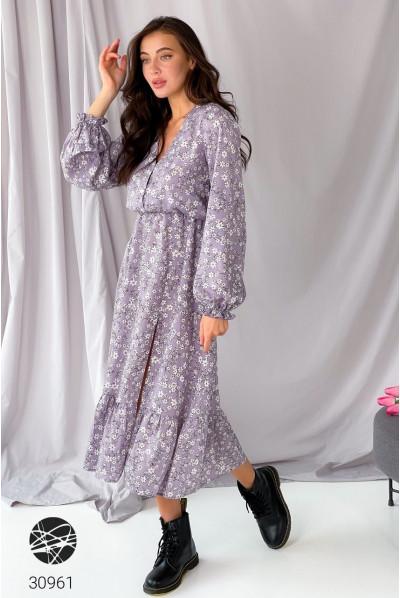 Бузкове романтичне плаття міді для жінок з пишними формами