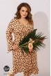 Бежеве привабливе плаття з принтом в горох для повних жінок