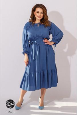 Синя вишукана котонова сукня міді великих розмірів