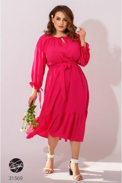 Рожева елегантна сукня міді з поясом