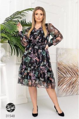Чорна шифонова сукня з квітковим принтом