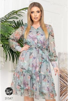 Оливкове чарівне плаття міді з шифону