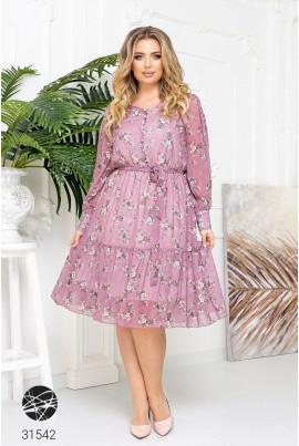 Рожева ошатна квіткова сукня великих розмірів