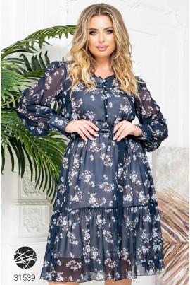 Синя ефектна сукня міді великих розмірів