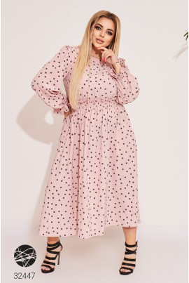 Рожева зачаровуюча принтована сукня для жінок з пишними формами