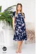 Синє оригінальне літнє плаття для жінок з апетитними формами