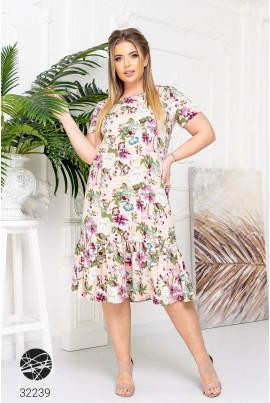 Бежева неймовірно ніжна літня сукня міді