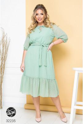 Ментолова шифонова виразна сукня великих розмірів