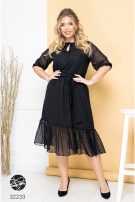Чорна повітряна вишукана сукня для жінок з апетитними формами