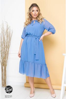 Блакитна сучасна шифонова сукня міді