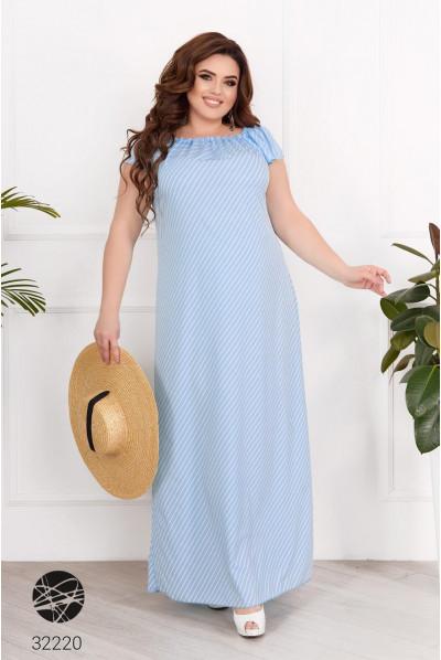 Блакитний гламурний довгий сарафан з принтом