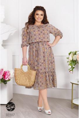 Бежева стильна феєрична сукня великих розмірів