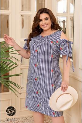 Синє літнє плаття з принтом для жінок з апетитними формами
