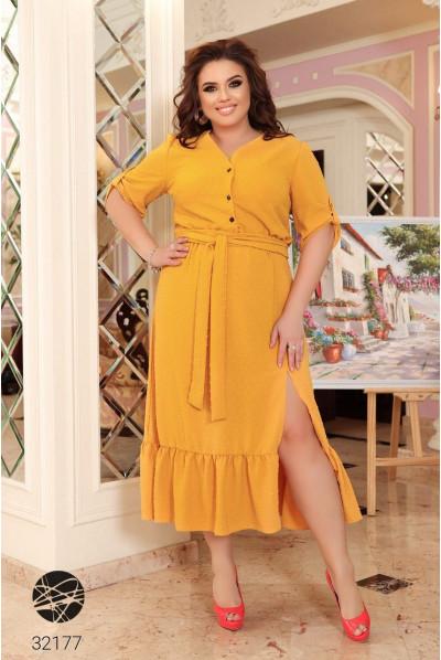 Гірчична гламурна сукня-рубашка для повних жінок
