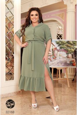 Оливкове елегантне плаття-рубашка з воланом