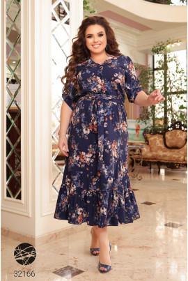 Сине легке квіткове плаття-сорочка для жінок з пишними формами