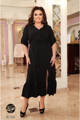 Чорна сучасна сукня-сорочка з вишивкою