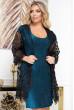 Бірюзова блискуча сукня з чорною накидкою