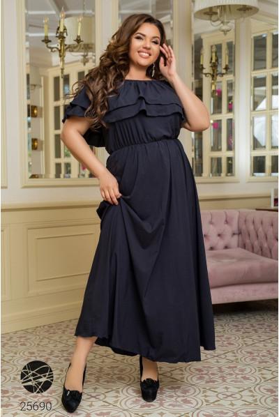 Синя зачаровуюча сукня максі для жінок з королівськими формами