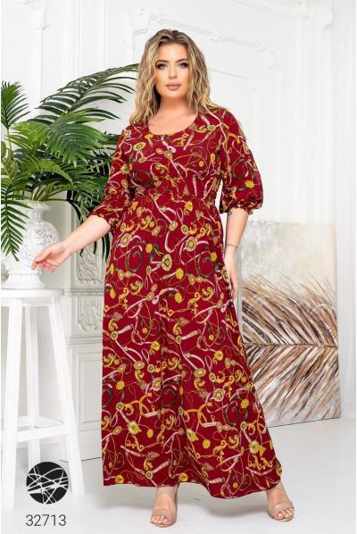 Бордова лаконічна сукня з принтом для повних жінок