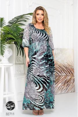 Ментолова яскрава довга сукня з анімалістичним принтом