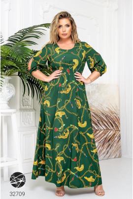 Зелена оригінальна ошатна сукня максі великих розмірів