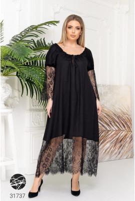 Чорна гармонійна сукня максі з мереживними вставками