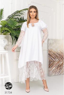 Біла ніжна грайлива сукня великих розмірів