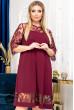 Бордова трендова сукня міді для жінок з пишними формами