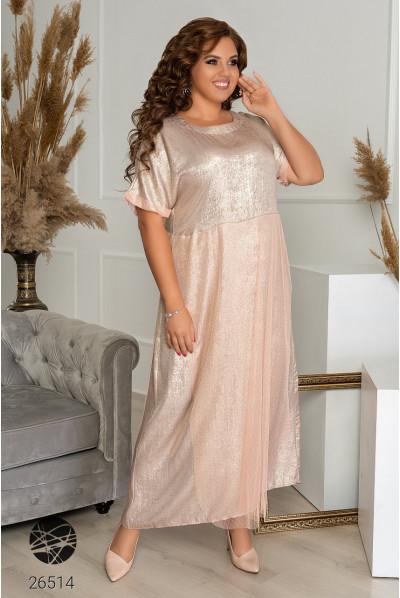 Сяюча розкішна довга сукня золотистого кольору