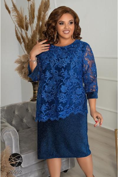 Синя приваблива сукня міді для жінок з апетитними формами