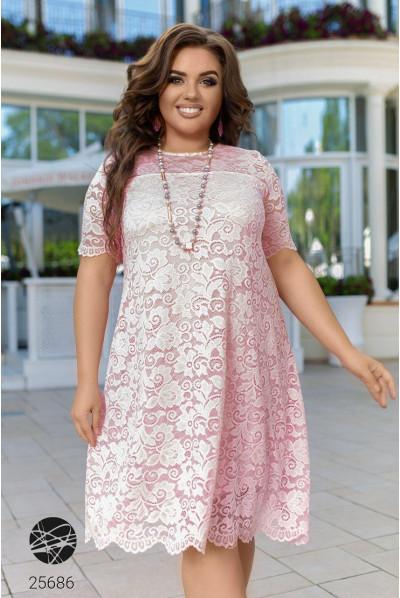 Пудрове ефектне чарівне плаття з гіпюру