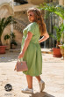 Зелена практична сукня великих розмірів з льону