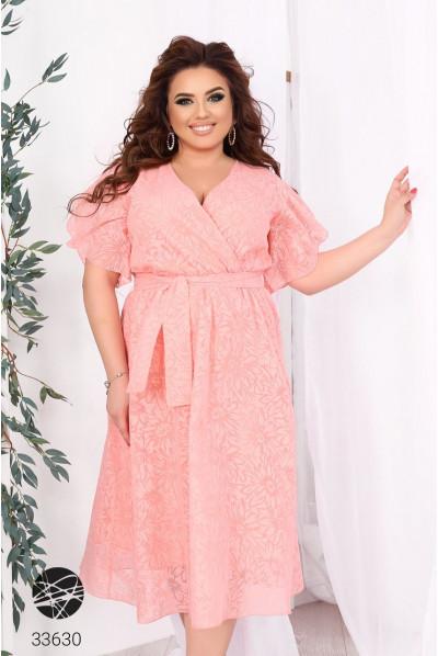 Рожеве ніжне шифонове плаття на запах